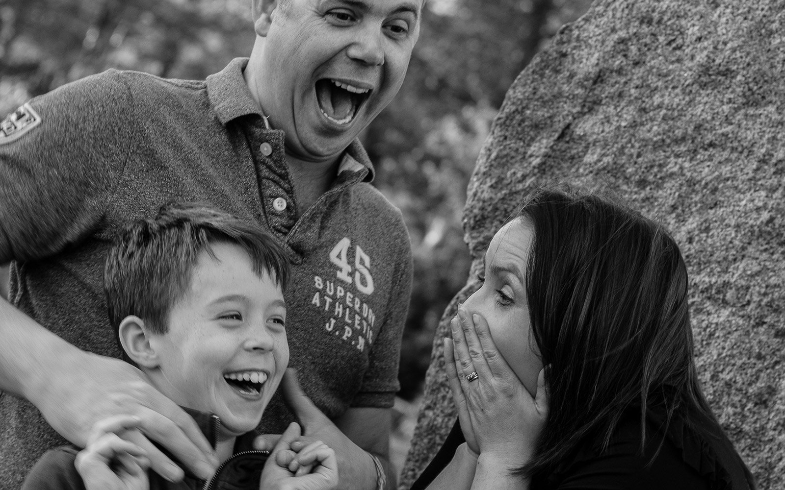 Mel Hudson Family Photography Belfast, Daddy, Mummy and Son laughing together