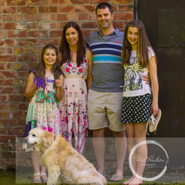 Mel Hudson Family Photography Belfast, family portrait with beloved family pet Roo