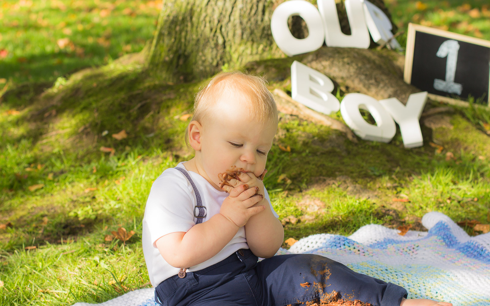 Mel Hudson Cake Smash Photographer Shaftesbury Park Carrickfergus, Outdoor Cake Smash