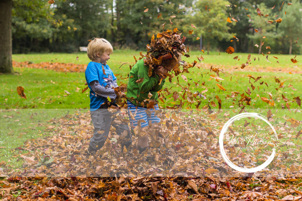 Family Photography Belfast, 2 young boys playing in the leaves