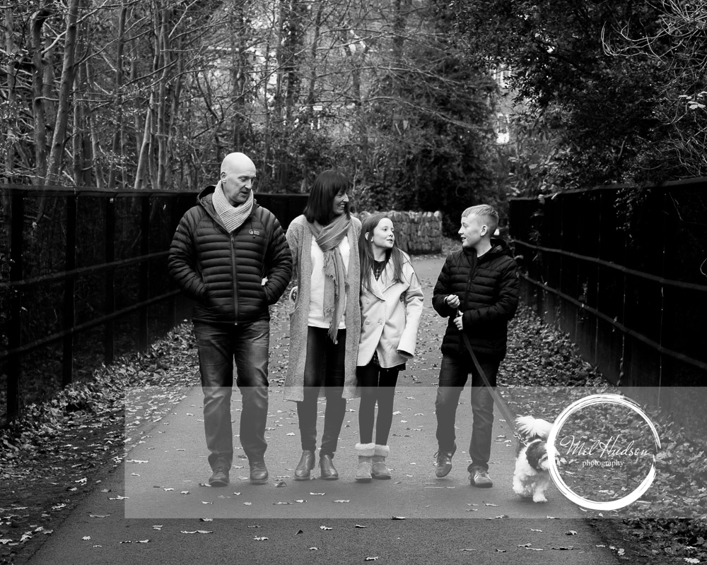 Mel Hudson Family Photography Belfast, Black & White Family Lifestyle Portrait in Monkstown Wood