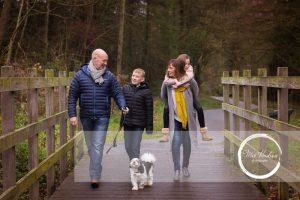 Mel Hudson Family Photographer Belfast, family lifestyle portrait of mum, dad, son, daughter & family pet