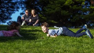 Mel Hudson Outdoor Family Photographer, Sir Thomas and Lady Dixon Gardens Belfast, hill rolling with kids