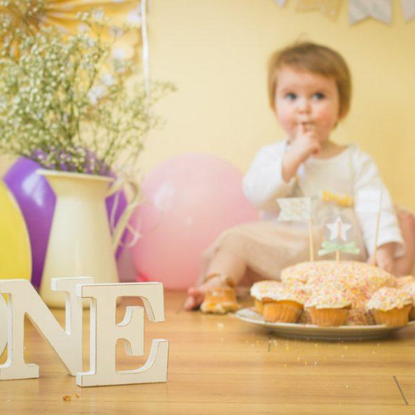 Indoor at home Cake Smash, little girls first birthday, Mel Hudson Family Photographer Lisburn