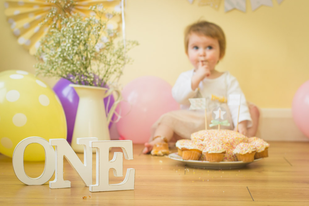 Indoor at home Cake Smash, little girls first birthday, Mel Hudson Family Photographer Lisburn
