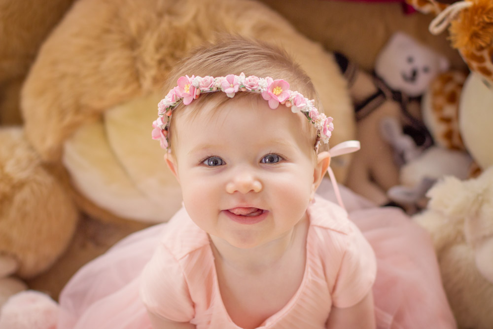 6 month sitting session with little girl with amazing blue eyes, childrens portrait photographer belfast