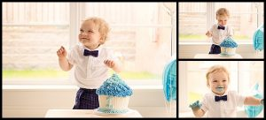 cake smash photographer belfast, little boys 1st birthday cake smash with blue icing