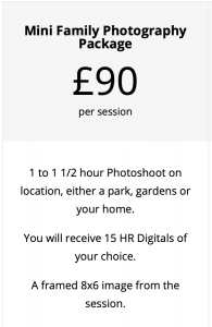 mini family photography package price list Northern Ireland