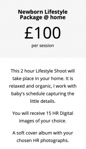 photography package for a newborn shoot at home, price list, northern ireland