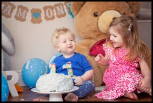 Cake Smash with brother and sister Northern Ireland