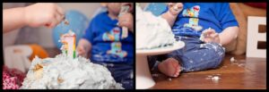 Cake smash for little boy in Belfast with Mel Hudson Family Photography